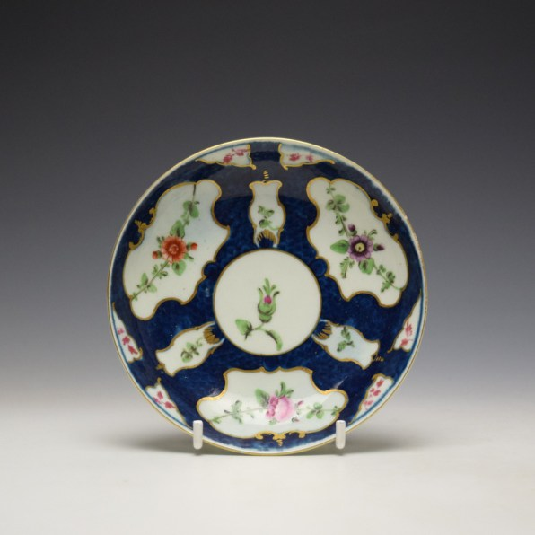 Worcester Blue Scale Panelled Floral Pattern Teabowl and Saucer c1770-75 (10)