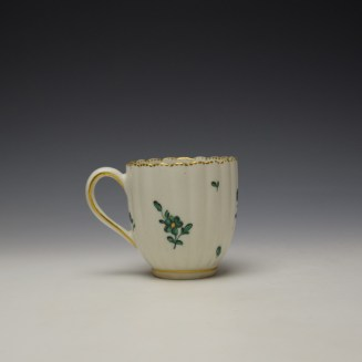 Chelsea Derby Giles Decorated Green Floral Pattern Fluted Coffee Cup c1769-75 (3)