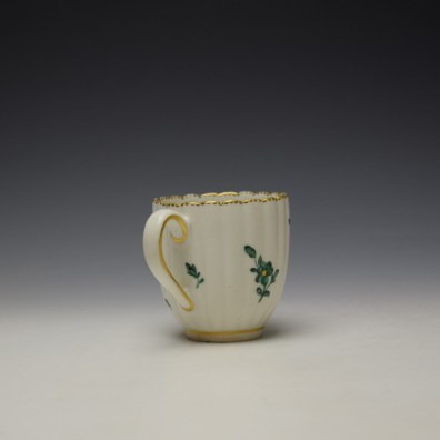 Chelsea Derby Giles Decorated Green Floral Pattern Fluted Coffee Cup c1769-75 (4)