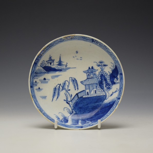 Lowestoft Chinese Willow River Landscape Pattern Teabowl and Saucer c1785-95 (8)