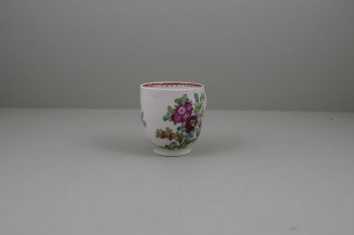 Lowestoft Porcelain Curtis Flower Pattern Coffee Cup and Saucer, C1785-95 (3)