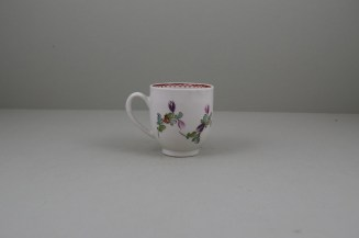 Lowestoft Porcelain Curtis Flower Pattern Coffee Cup and Saucer, C1785-95 (6)