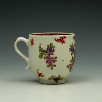 Lowestoft Curtis Pink and Purple Rose Pattern Coffee Cup c1785-95 (3)