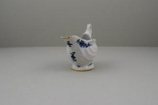 Lowestoft Porcelain Daisy Pattern Shell Moulded Dolphin Ewer, C1770-75 (2)