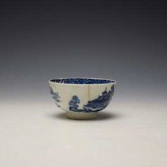 Lowestoft Dark Landscape Pattern Teabowl and Saucer c1790-1800 (2)