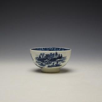 Lowestoft Dark Landscape Pattern Teabowl and Saucer c1790-1800 (3)