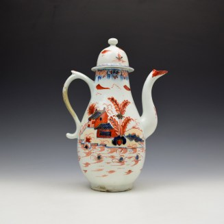 Lowestoft Dolls House Fern Pattern Coffee Pot and Cover c1775-85 (4)