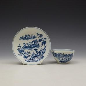 Lowestoft Dromedaries on a Raft Pattern Teabowl and Saucer c1770-80 (1)