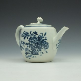 Worcester Fence Pattern Barrel Shape Teapot and Cover c1775 (3)