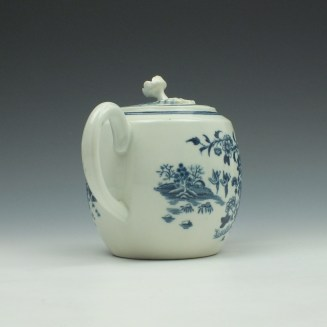 Worcester Fence Pattern Barrel Shape Teapot and Cover c1775 (5)
