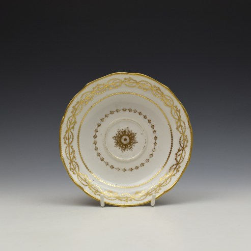 Derby Gilded Star Pattern Chocolate Cup and Stand c1782-1800 (10)