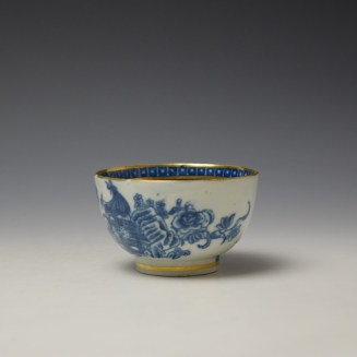 Caughley Fisherman Pattern Teabowl and saucer c1779-99 (5)