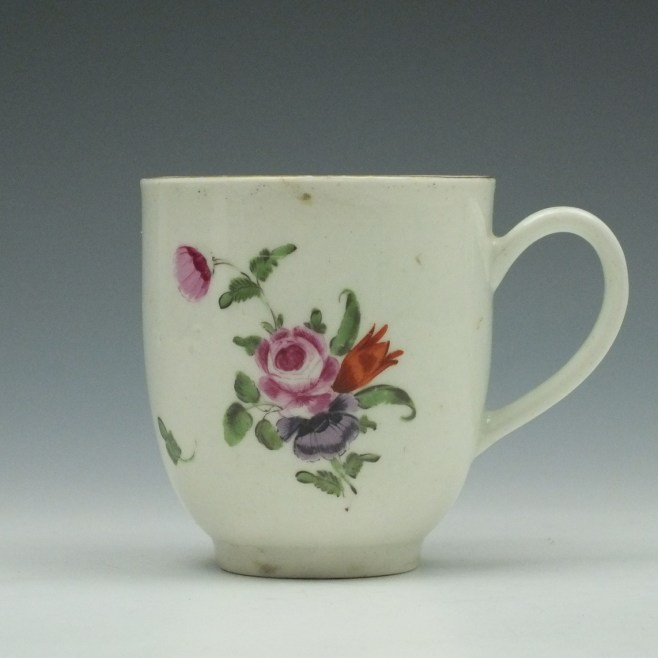 Worcester Porcelain Floral Pattern Coffee Cup c1775 (1)