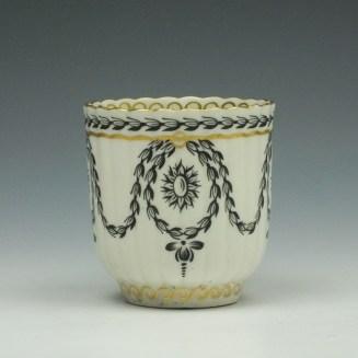 Worcester Neo Classical Pattern Coffee Cup and Saucer c1775-85 (3)