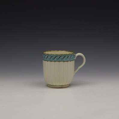 Worcester Fluted Turquoise and Garland Border Pattern Coffee Cup and Saucer c1785-1800 (2)