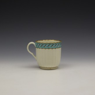 Worcester Fluted Turquoise and Garland Border Pattern Coffee Cup and Saucer c1785-1800 (4)