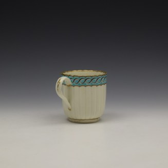 Worcester Fluted Turquoise and Garland Border Pattern Coffee Cup and Saucer c1785-1800 (5)
