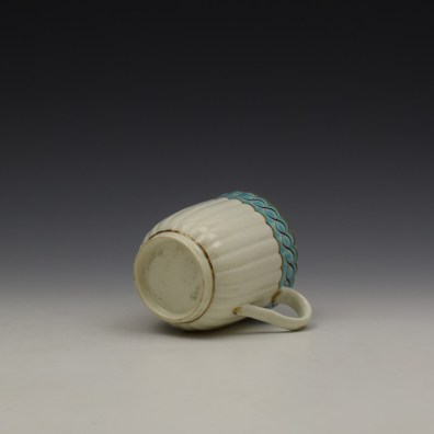 Worcester Fluted Turquoise and Garland Border Pattern Coffee Cup and Saucer c1785-1800 (7)