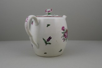 Worcester Porcelain First Period French Style Flower Pattern Barrel Shape Teapot a (6)