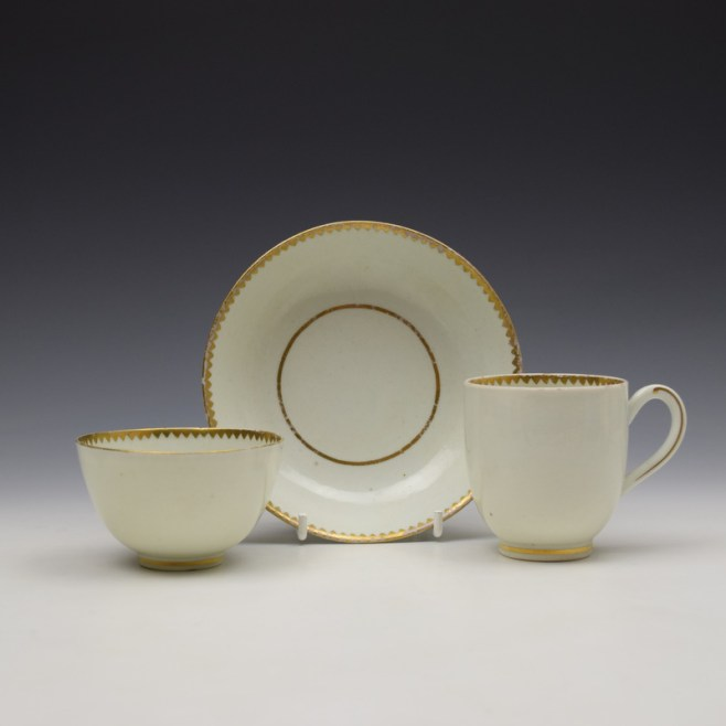Worcester Gilded Band Pattern Trio c1775-85 (1)