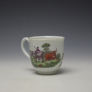 Worcester Milkmaids Pattern Hand Coloured Coffee Cup c1775-80 (3)