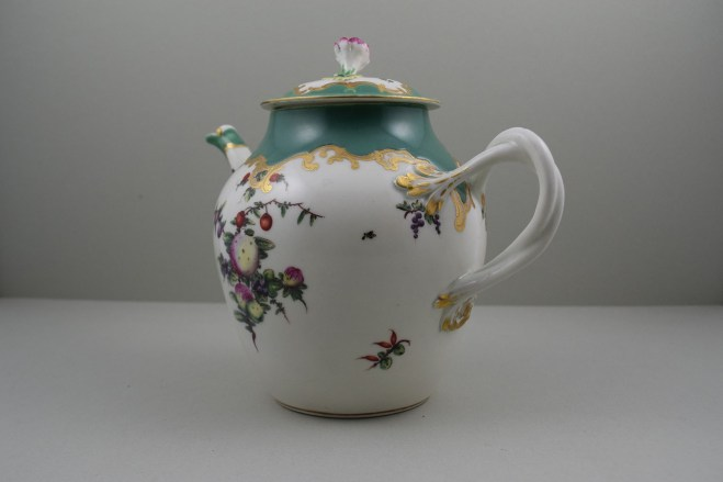 Worcester Porcelain James Giles Spotted Fruit Pattern Teapot, Cover and Stand, C1770 (9)