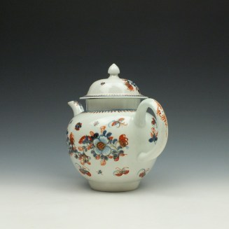 Liverpool John Pennington Profile Bud Pattern Teapot and Cover c1775-85 (6)