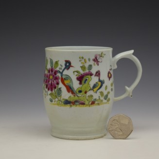 Longton Hall Fancy Bird and Rock Pattern Bell Shaped Mug c1755 Ex Watney Collection (2)