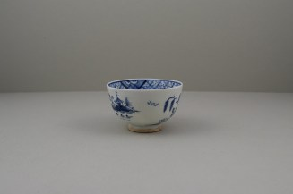 Lowestoft Porcelain Hut Fence Pagoda Willow Pattern Teabowl and Saucer, C1780-90 (4)