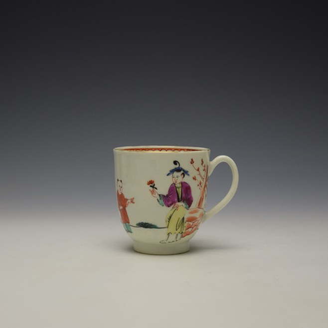 Worcester Mandarin Lady Holding Flowers Pattern Coffee Cup c1770-75 (1)
