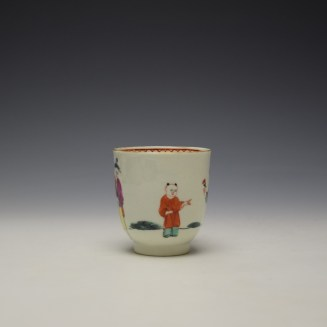 Worcester Mandarin Lady Holding Flowers Pattern Coffee Cup c1770-75 (2)