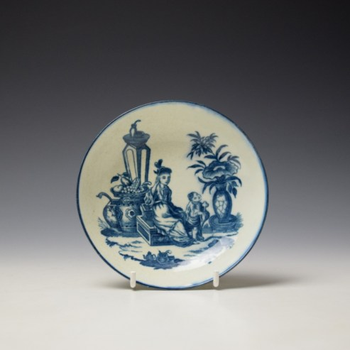 Caughley Mother and Child Pattern Teabowl and Saucer c1776-90 (7)