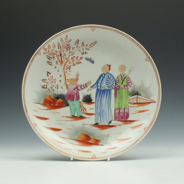 New Hall Pattern 421 Boy and Butterfly Pattern Saucer Dish c1790-1810 (1)
