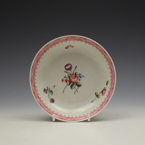 New Hall Rose and Floral Sprays Within a Pink Border Pattern Teabowl and Saucer c1800 (7)