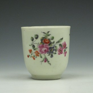 Worcester Porcelain Outside Decorated Floral Pattern Coffee Cup c1770 (9)