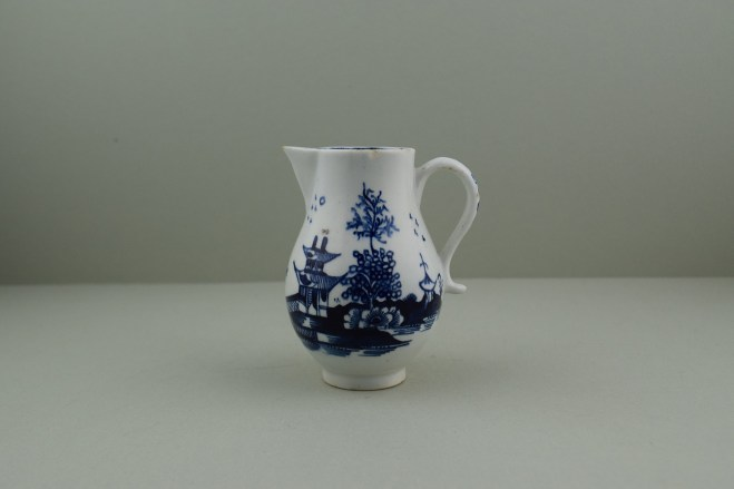 Lowestoft Porcelain Pagoda, Fence and Landscape Pattern Sparrow Beak Jug, C1775-90 (1)