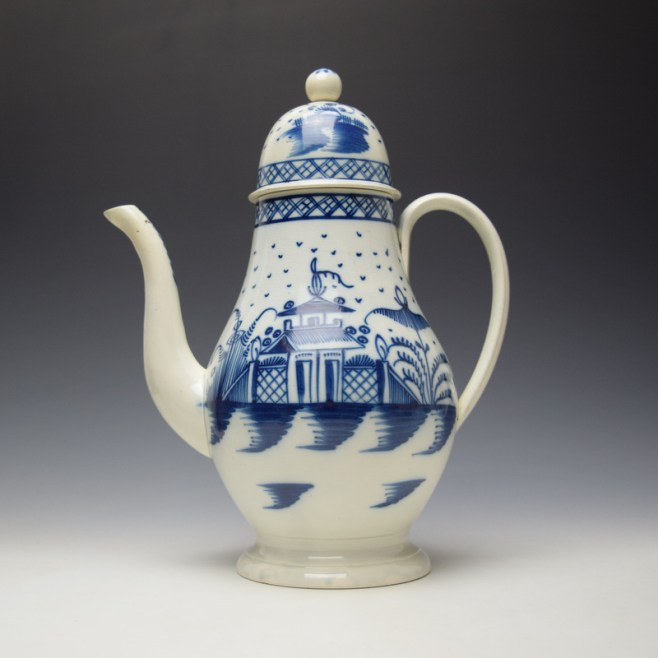 English Pearlware Candle Fence Pavilion Pattern Coffee Pot and Cover c1780-1800 (1)