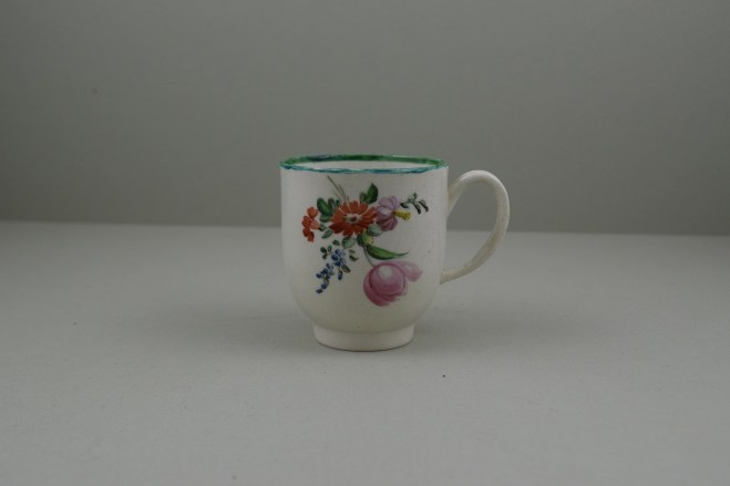 Liverpool Porcelain Pennington's Pink Rose and Flower Spray Pattern Coffee Cup, C1780-85. 1