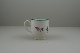 Liverpool Porcelain Pennington's Pink Rose and Flower Spray Pattern Coffee Cup, C1780-85. 4