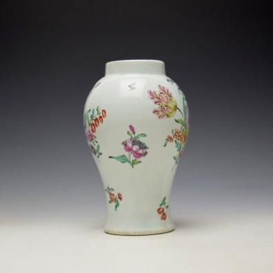 Liverpool Philip Christian Floral Pattern Vase c1765-70 (2)