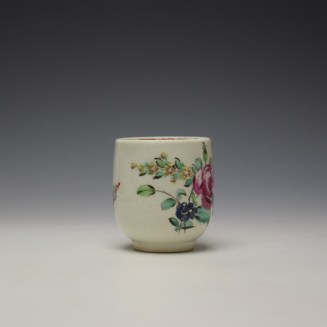 Liverpool Philip Christian Rose and Floral Sprays Pattern Coffee Cup and Saucer c1770 (3)