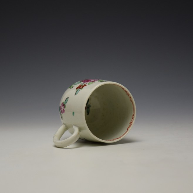 Liverpool Philip Christian Rose and Floral Sprays Pattern Coffee Cup and Saucer c1770 (6)