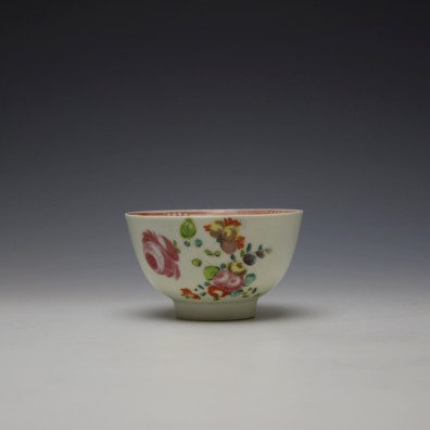 Liverpool Philip Christian Rose and Floral Sprays Pattern Teabowl and saucer c1770-75 (2)