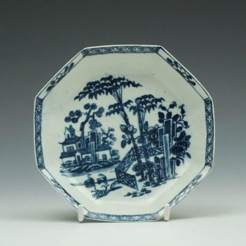 Worcester Porcelain Plantation Pattern Octagonal Saucer c1760 (0)