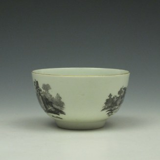 Rare Worcester Drovers Pattern Bat Printed Teabowl c1770 (2)