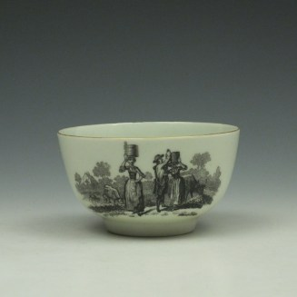 Rare Worcester Drovers Pattern Bat Printed Teabowl c1770 (3)