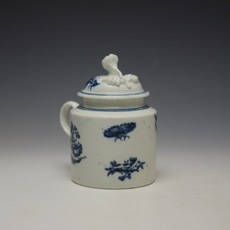 Worcester Three Flowers Pattern Mustard Pot and Cover c1785 (3)