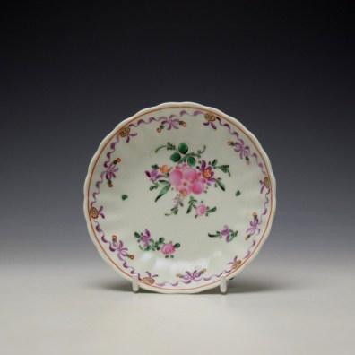 Lowestoft Fluted Curtis Floral Pattern Teabowl and Saucer c1780 (8)