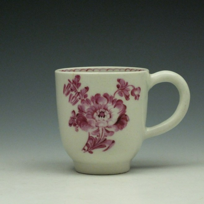 Lowestoft Tulip Painter Pink Monochrome Floral Coffee Cup c1785-90 (1)