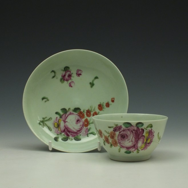 Liverpool Richard Chaffers Rose Pattern Teabowl and Saucer c1760-62 (1)
